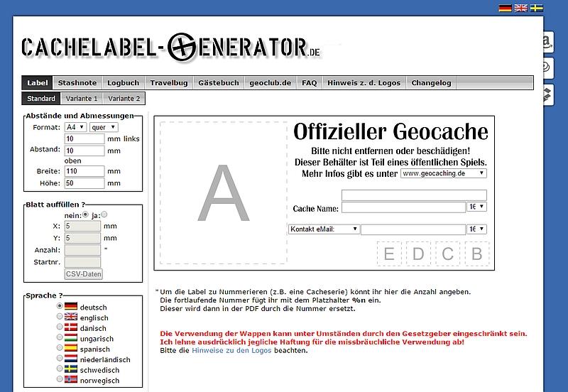 Cachelabel Generator